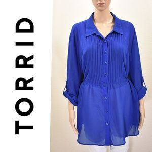 Torrid Blue Babydoll Long Sleeve Tunic